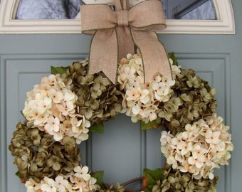 Summer Wreath - Summer Hydrangea Wreath - Summer Door Wreath