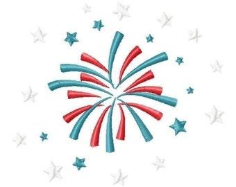 Fireworks Scene Machine Embroidery Design INSTANT DOWNLOAD