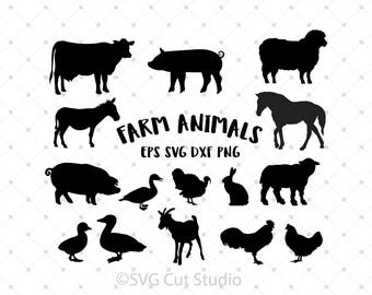 Farm Animals SVG, Farm svg, Horse SVG, Sheep svg, Rooster svg, Duck svg, Chicken svg, Turkey cut files for Cricut and Silhouette, svg files