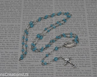5 Decade Catholic Rosary with Czech Crystal Oceanic Blue Beads and Antique Silver Crucifix - Item 290