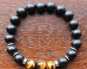 Brown Tiger Eye, Matte Onyx, with Silver Spacers Rings