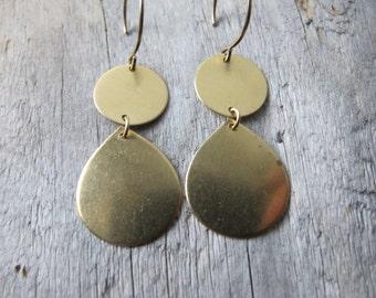 Teardrop Brass Earrings, Geometric Dangles with 14k Gold Filled Ear Wires