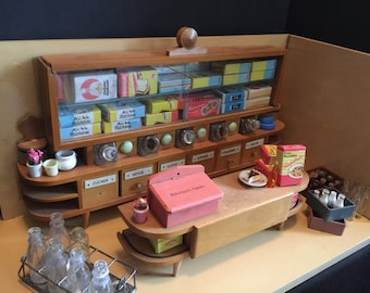 German MCM Vintage Grocery Store Room Box   Miniature Dollhouse Mid Century Modern General Store Diorama   1950-1960s Germany