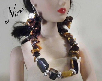 Tiger Eye Gemstones and Tibetan Silver necklace n earring set for 16 inch Doll Jewelry -Tonner, Fashion, Parker Dolls, Clothing, by Nims