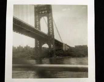 Brooklyn Bridge... 1940's Vintage Photo... Original Vintage Snapshot Photograph