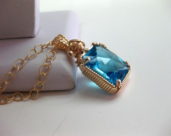Swiss Blue Topaz Gold Necklace - FREE SHIPPING