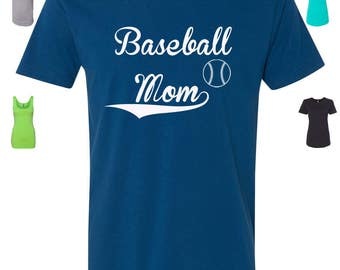 Custom Made Baseball Mom T-Shirt  Baseball Shirt, Baseball Tank Top or Baseball Raglan Vinyl or Glitter Print All Colors