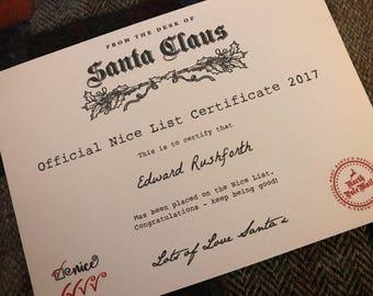 Christmas Nice List Certificate - Santa Claus