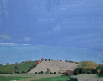 October Blue, Original Autumn Landscape Collage Painting on Panel, Ready to Hang, Stooshinoff