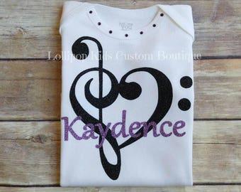 Music, treble clef, bass, personalized shirt