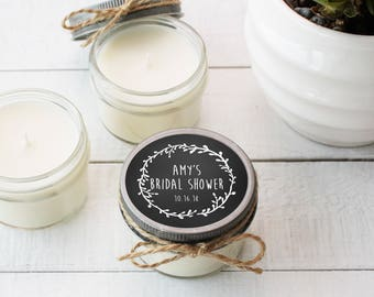 Set of 12 - 4 oz Soy Candle Bridal Shower Favors - Laurel Chalkboard Label - Rustic Bridal Shower Favors, Chalkboard Bridal Shower Favors