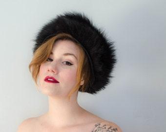 1960s vintage hat / black fox fur and wool hat / Haya Rochel