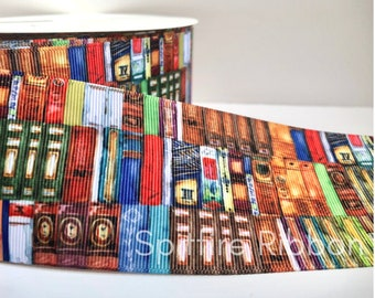 Old Books Ribbon   Library   Grosgrain   3 Inch