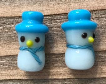 Glass Snowman Beads/Glass Snowmen Beads/Earrings/Necklace/JEWELRY SALE/Sold per set of 2