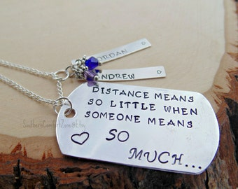 Long Distance Relationship Deployment - Army Navy Marines Air Force - Girlfriend Wife - Separation - Couple - Love - Metal Stamped Necklace