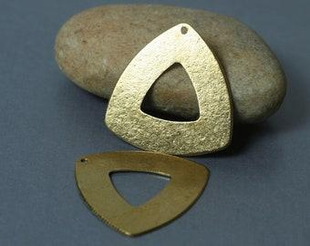 Handmade matte finish solid brass triangle drop dangle charm size 28x28mm, 2 pcs (item ID MXW01044RBT)