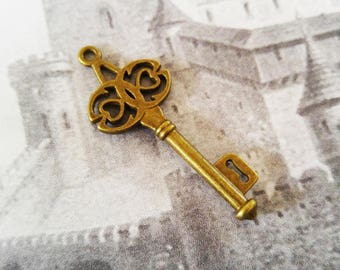 Skeleton Keys Antiqued Bronze Skeleton Key Charms Key Pendants Steampunk Keys Castle Keys Bronze Key Charms 45mm