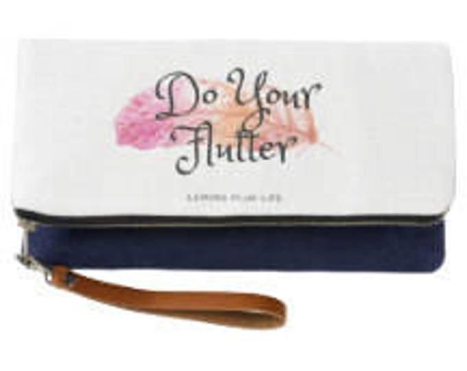 Do Your Flutter Fold Over Indigo Clutch with Feather
