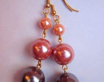 Earrings 3 pink purple orange pearls