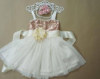 Rose gold and ivory flower girl dress Rose gold flower girl dress Ivory flower girl dress Sequin flower girl dress Blush flower girl dress