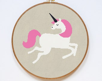 Unicorn Cross Stitch Pattern, Modern Cute Animal Counted Easy Stitch Chart, PDF Format, Instant Download