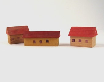 tiny wood houses - vintage wood toy houses - vintage toy - wood house