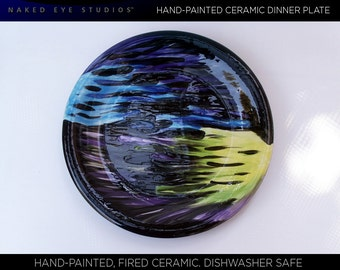 Hand-Painted Cool Color Ceramic Dinner Plate