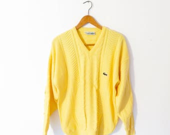 LACOSTE Vintage Mustard Yellow Cotton V-neck Kable-Knit Sweater Jumper, sz. XL