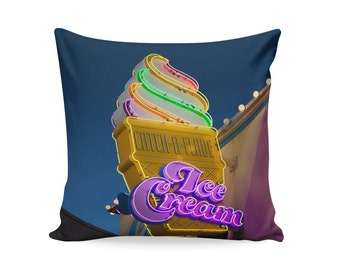 Ice Cream Neon Sign Pillow Cover | Kitschy Home Decor | Mid Century Pillow | Decorative Pillow Cover | Retro Pillow | Ice Cream Sign