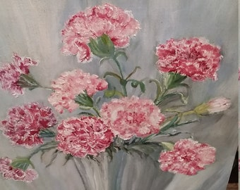 Vintage Oil Painting Carnations