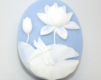 Dragonfly and Water Lily Soap - silhouette, flower, insect, portrait soap, pond, serene, designer soap, lotus, mothers day, birthday, spa