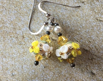 Flower Lampwork Earrings, Pastel Floral Earrings,Yellow & White Earrings, Lampwork Jewelry, Gift For Her