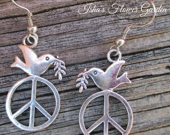 Peace dove earrings, peace sign earrings