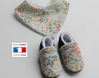 SALE! Box baby booties + bib liberty Adelajda multicolored