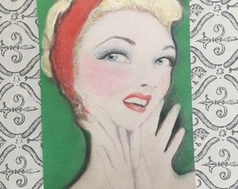 Red and Green Retro Pinup Blonde Portrait Art Painting