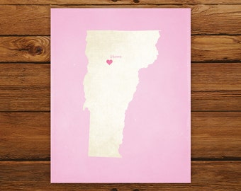 Customized Printable Vermont State Map - DIGITAL FILE, Aged-Look Personalized Wall Art