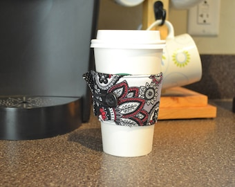 Coffee Cup Sleeve - Red/black floral