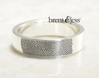 Wide Comfort Fit Handcrafted Fingerprint Wedding Ring with Tip Print on the Outside in Brushed Sterling Silver