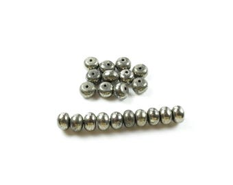 20 beads Abacus Pyrite natural 6 x 4mm LBP00597