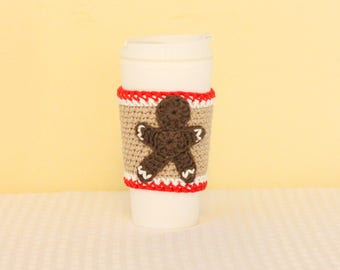 Gingerbread Man Cup Cozy, Crochet Coffee Cozy, Christmas Coffee, Winter Coffee