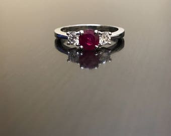 Art Deco Diamond Platinum Ruby Engagement Ring - Platinum Art Deco Ruby Diamond Wedding Ring - Three Stone Diamond Platinum Ruby Ring