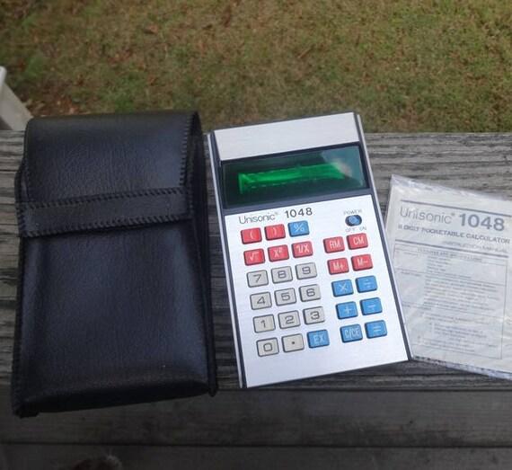 1970s unisonic 1048 calculator with case instructions rh etsy com Solar Unisonic Calculator Old Unisonic Calculators