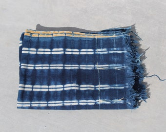 Vintage African Indigo Mudcloth Textile // Boho Denim Indigo // Blanket Cloth Throw 100% Cotton Fabric