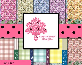 Scrapbook Paper, Digital Paper, Patchwork Design (Pack 1), 10 colors/variations, Instant Download