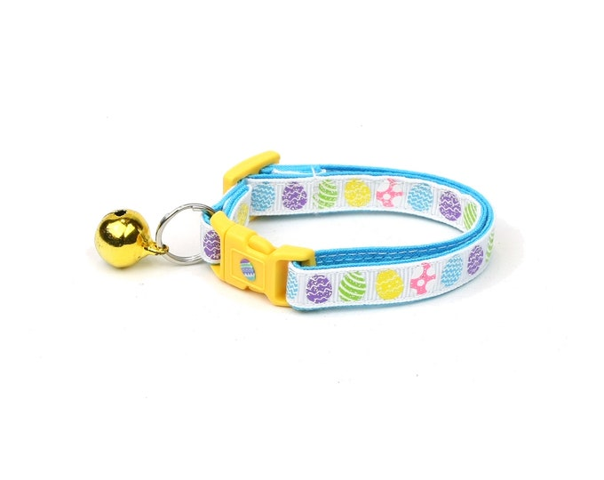 Easter Cat Collar - Patterned Easter Eggs on White - Kitten or Large Size