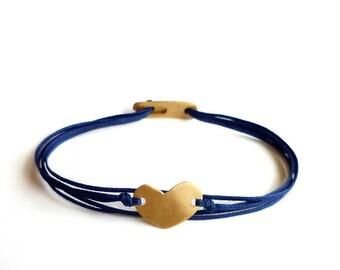 Gold Plated Sterling Silver Heart Bracelet - Handmade Valentine's Day Gift