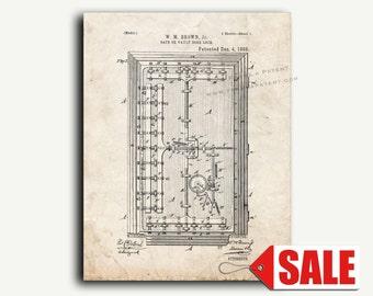 Patent Art - Safe Or Vault Door Lock Patent Wall Art Print