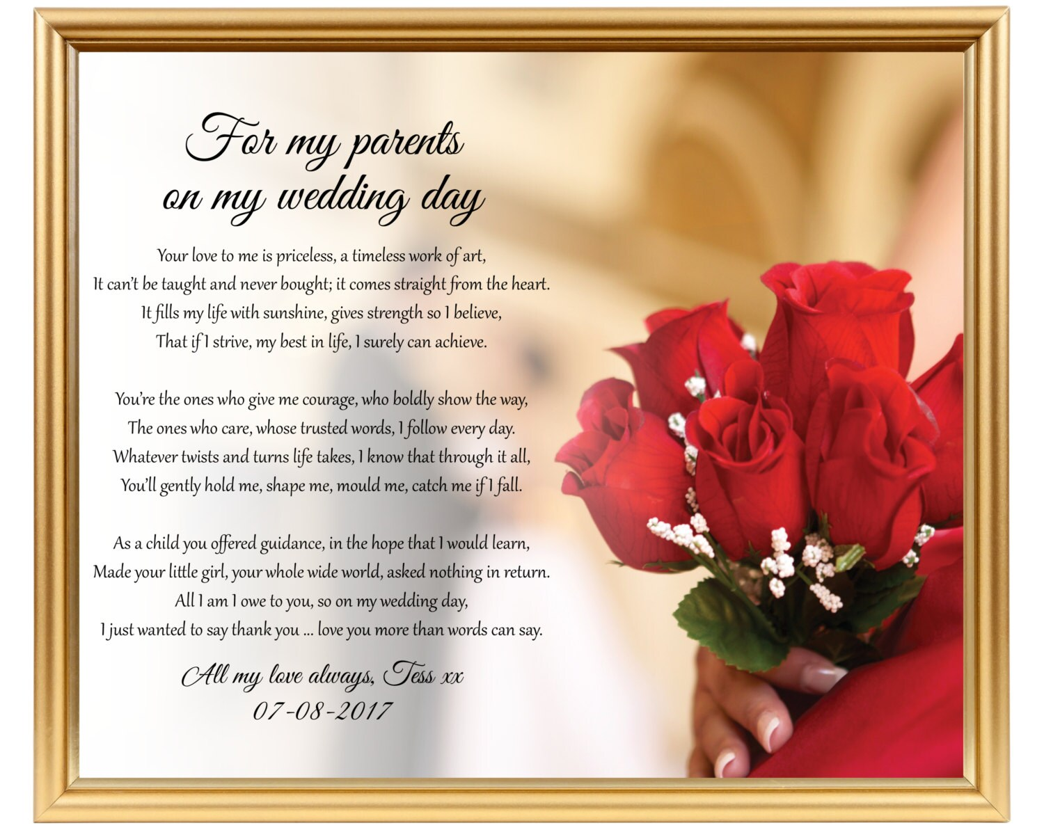 Wedding gift poem to Mom Mum from Bride To Dad from Bride
