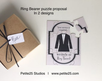 PUZZLE- Ring Bearer Will you be my Ring Bearer? Time to Suit Up! card, wedding party card, bridal party card, best man, groomsmen,