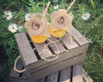 Drinking Jars with personalised message and hessian rose